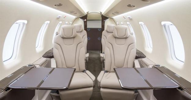 Pilatus PC-24 jet cabin, the first available for charter in the U.S.