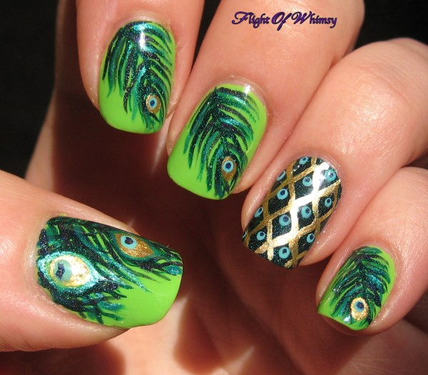 Peacock Feathers Nail Art