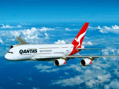Qantas A380 flight in air facing left