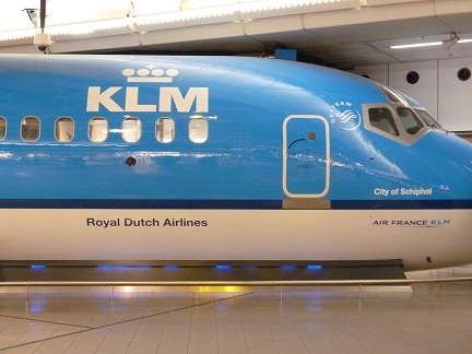 Mock front of a KLM plane