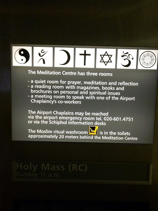 The Meditation Centre at Schipol serves so many religions
