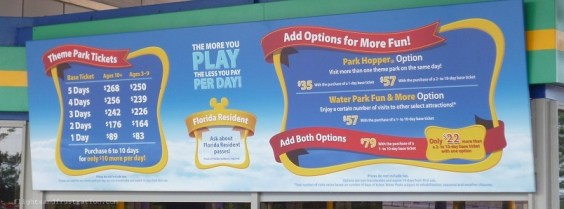 2013 Disney Park ticket prices