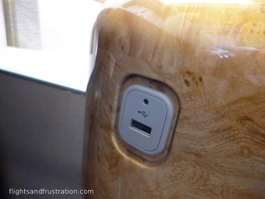 USB socket on Emirates First Class and Business Class
