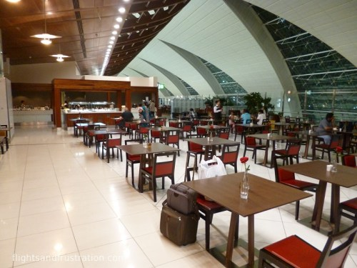 The main dining area in the Emirates Business Class Lounge Dubai