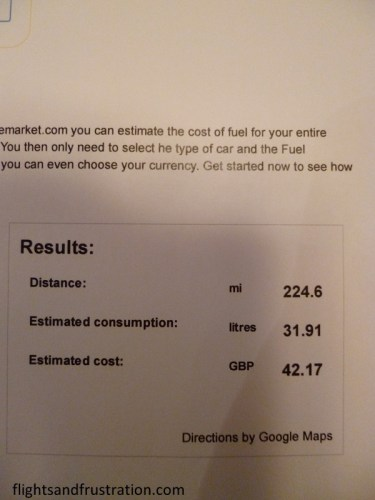 Fuel calculator's estimate of cost and distance