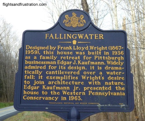 Road sign near the entrance to Falling Water
