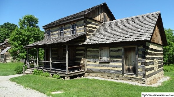 Some of the reconstructed buildings at Hanna's Town PA