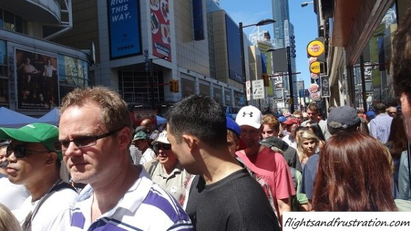 A crowded Yonge Street at the Buskerfest 2014 in Toronto
