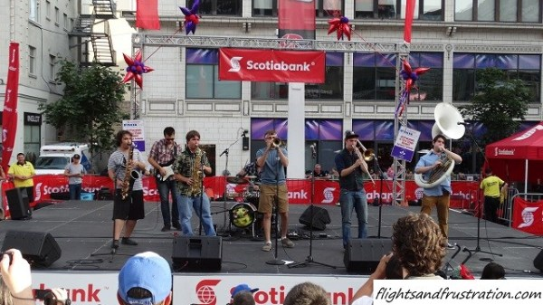 A local band on the Dundas Square stage at Buskerfest Toronto (13)