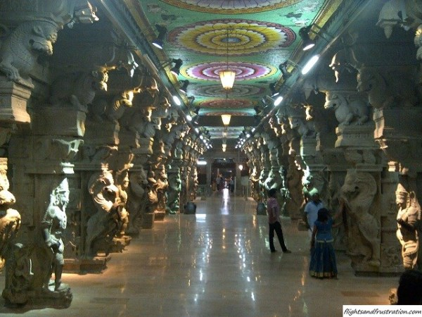 In the hall of a thousand pillars at madurai meenakshi amman temple