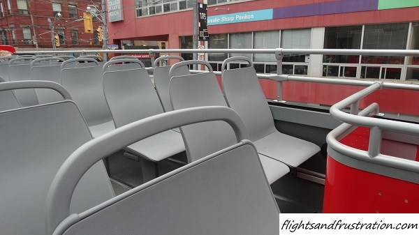 Plenty of spaces available on the Toronto Sightseeing Bus Tour