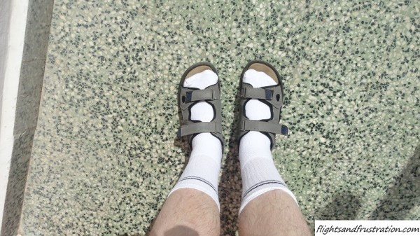 Sandals worn with socks