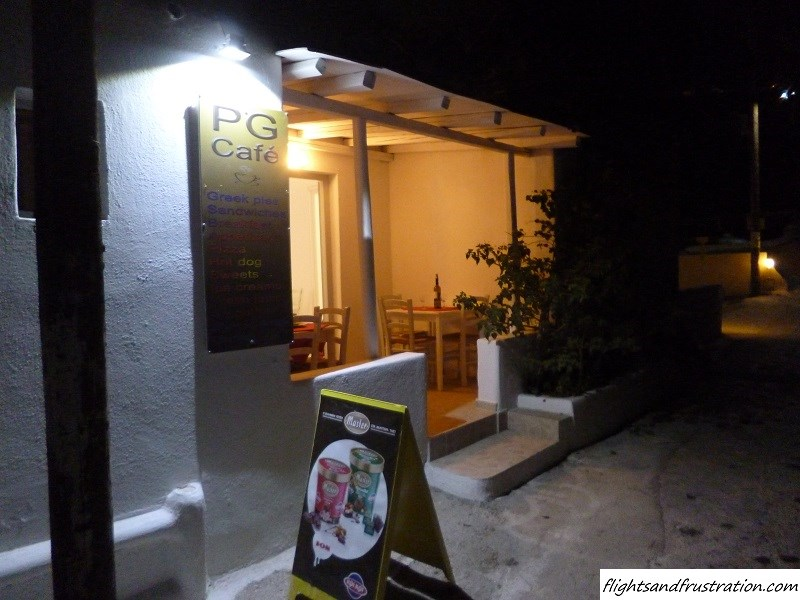 PG Cafe entrance in Mykonos, Greece