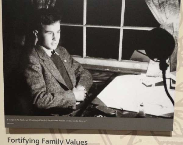 George H. W. Bush aged 13 picture on display at the george bush library college station