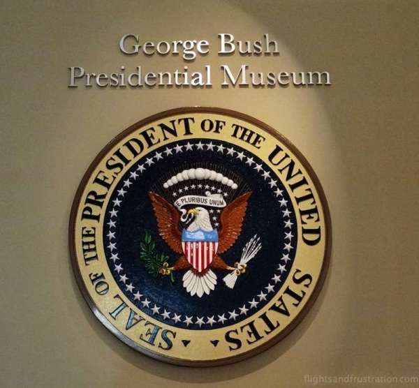 Seal of the President of the United States on display at the george bush library college station