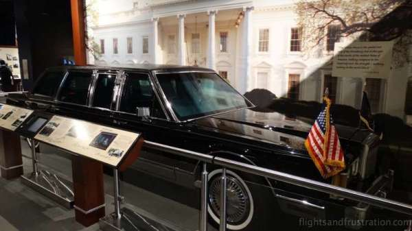 The Presidential limo on display at the george bush library college station