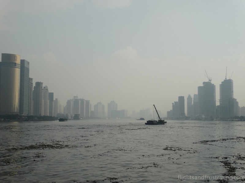 Looking down the Huangpu River from the Bund in Shanghai