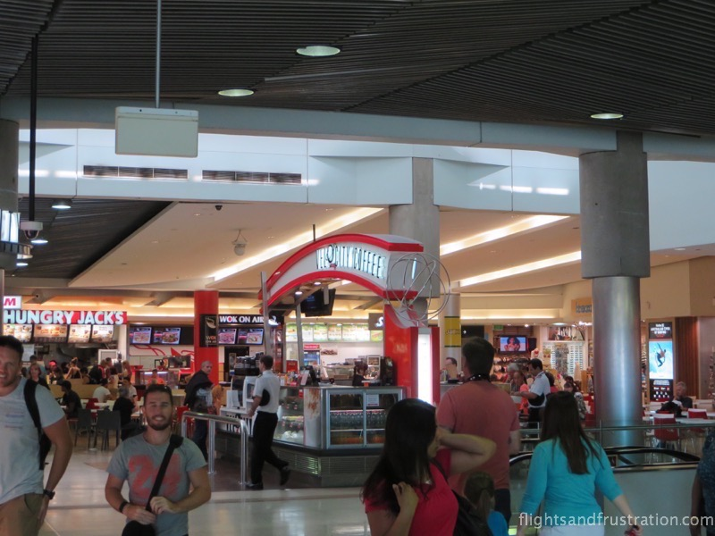 Food court just after the security check area at brisbane airport domestic terminal