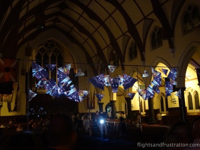 Lights on a fixed piece exhibit white night melbourne