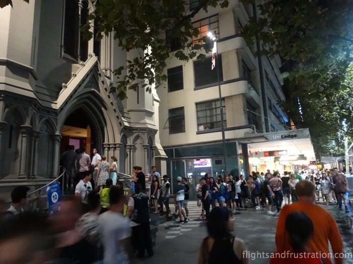 Queuing to go to church during white night melbourne 2015