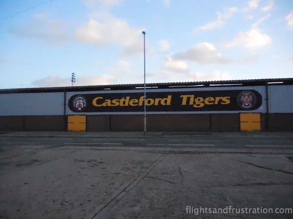 View of the Castleford Tigers ground from the car park at The Boot Room