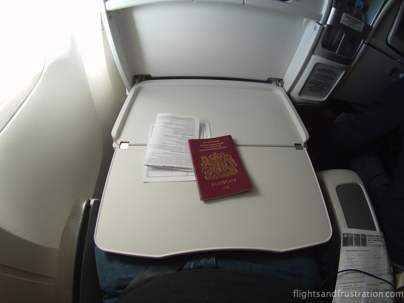 A large slide out table in Premium Economy with Air France