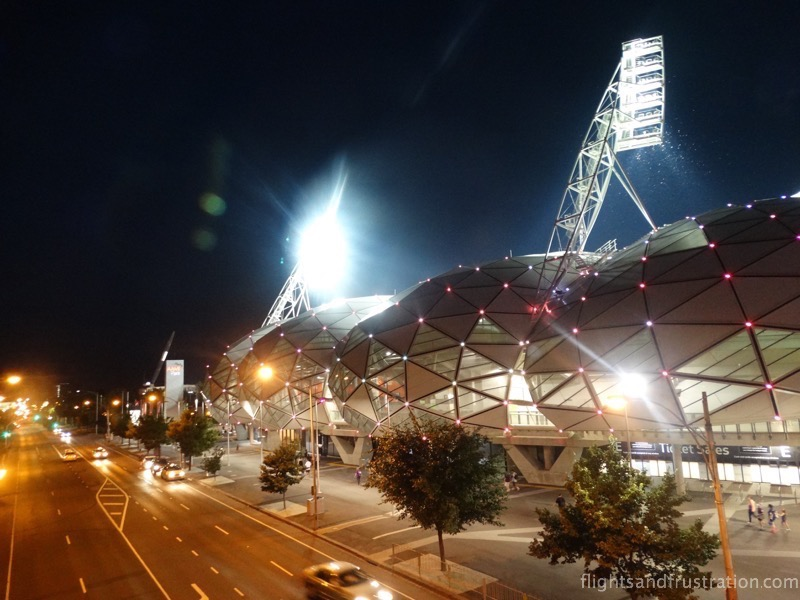 AAMI Park looks impressive at night after the melbourne storm family fun day