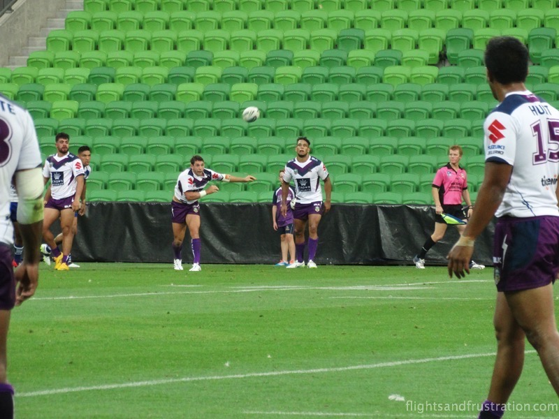 Billy Slater throws out a long pass