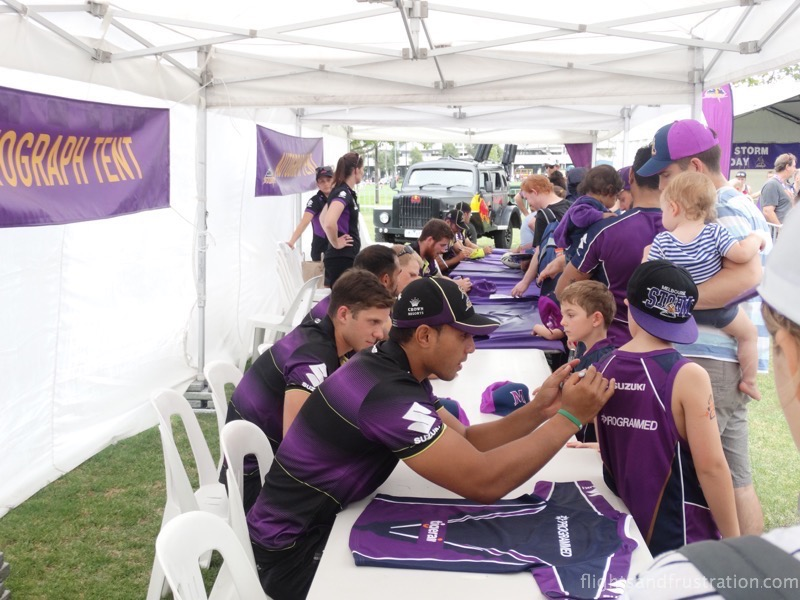 It was a busy afternoon for the Melbourne Storm players at the autograph tent
