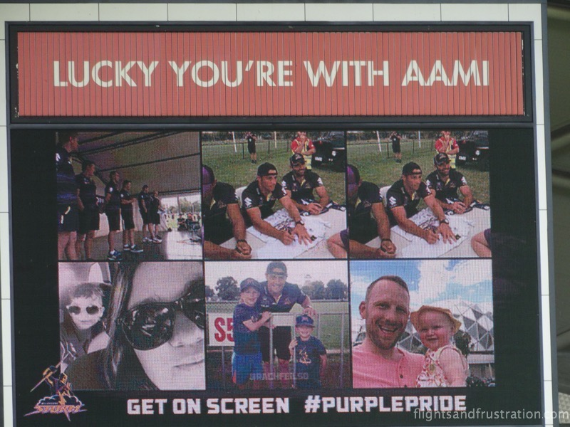 Pictures from the Melbourne Storm family fun day make the big screen inside AAMI Park
