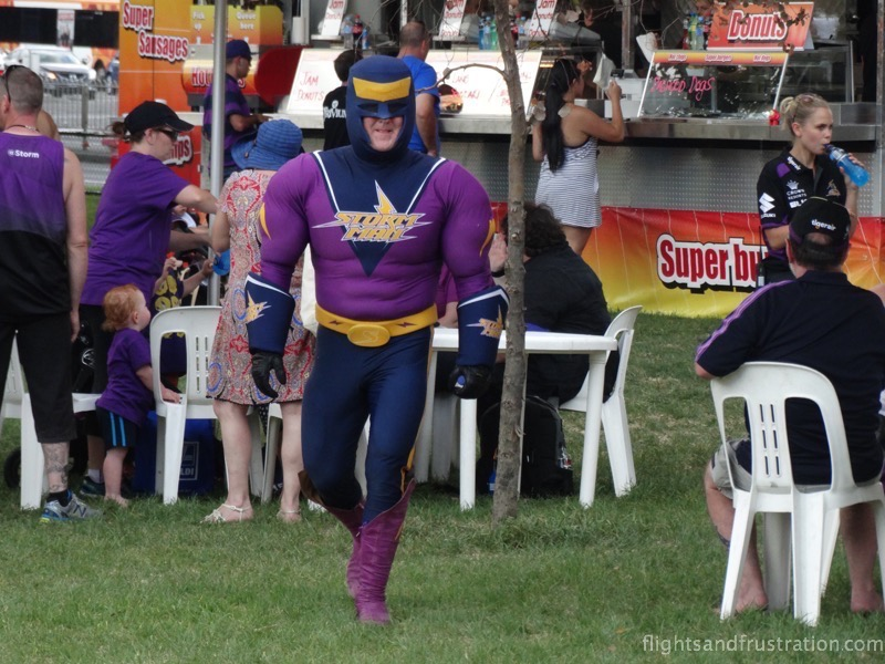Storm man is the mascot of the Melbourne Storm
