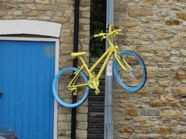 A Tour de Yorkshire bike lines the route in North Newbald
