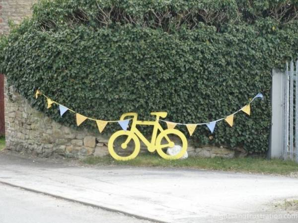 Bicycle decoration along the route of the Yorkshire bicycle race through North Newbald
