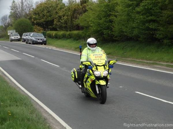 Police motorbikes started arriving along the route of La Tour Da Yorkshire