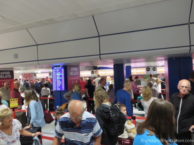 Long queues at the bag drop area for Jet2 customers at Manchester Airport