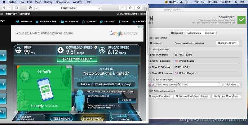 Second HMA VPN speed test