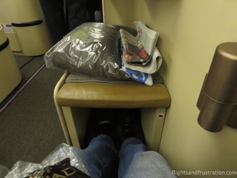Space underneath the footrest with Etihad Airways Business Class seats