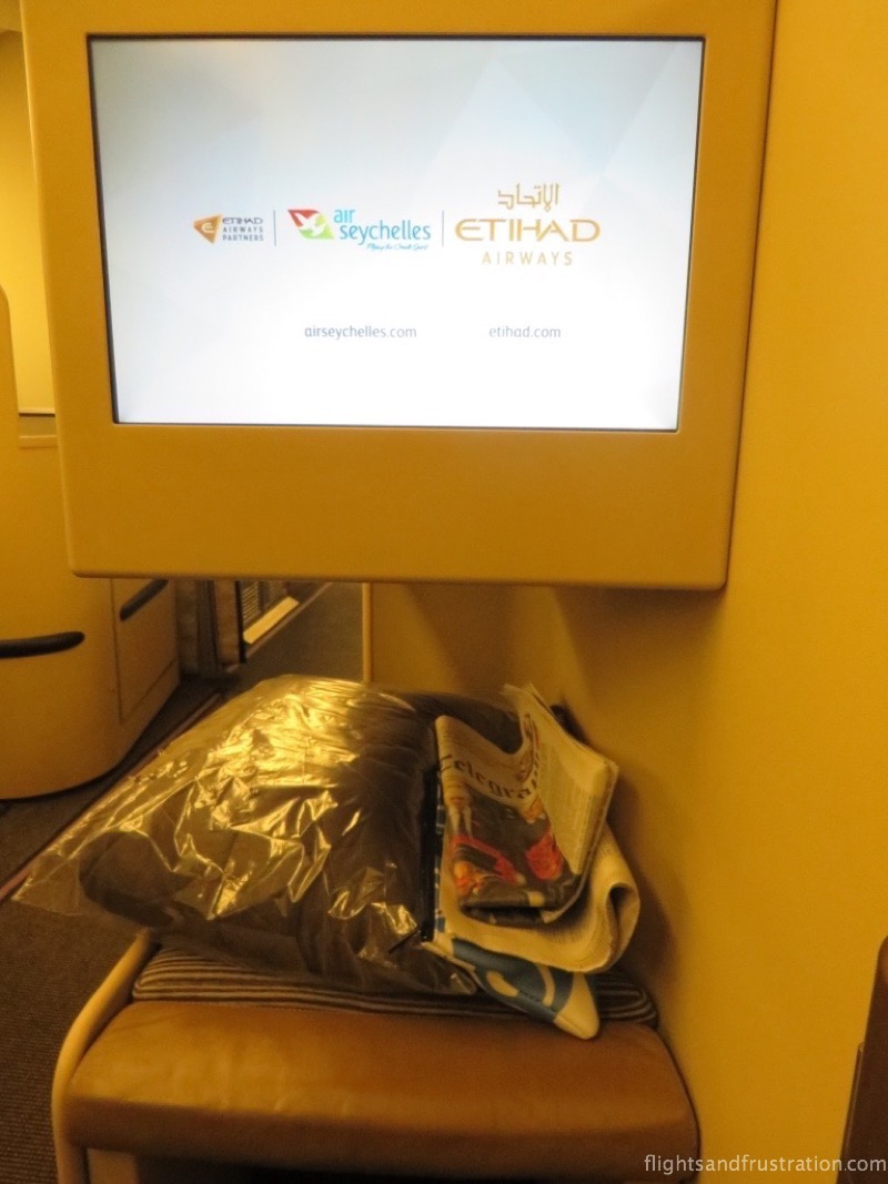 The entertainment screen on my Etihad Airlines Review