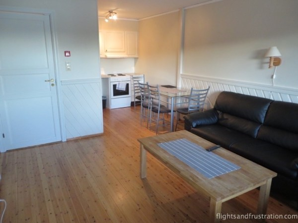 The lounge and kitchen was open plan in my self catering accommodation in Mandal