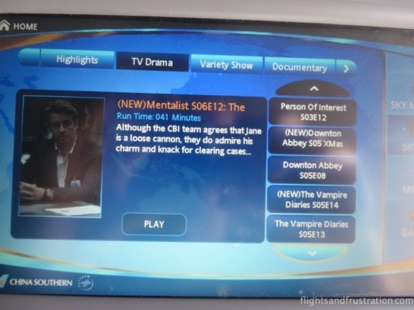 A selection of TV programmes on the China Southern Airlines Business Class entertainment system