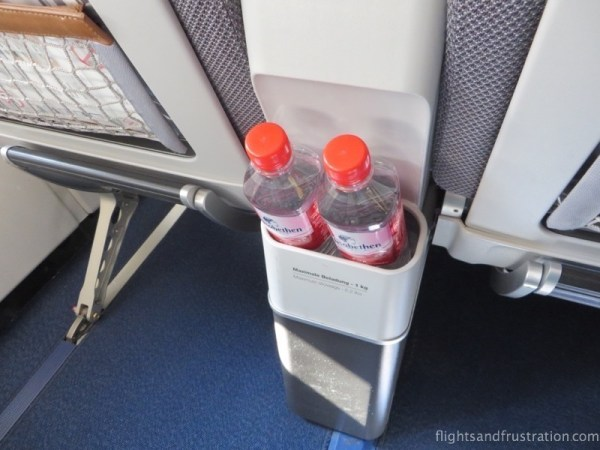 Complimentary water on arrival as part of my Lufthansa Premium Economy Review