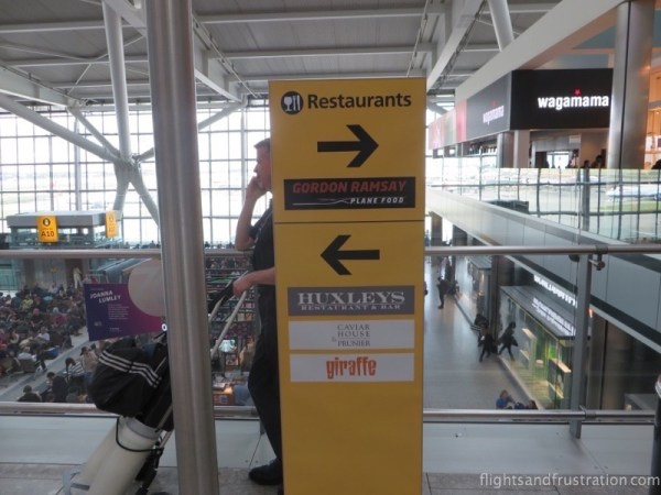 A selection of restaurants on the upper level of Heathrow T5
