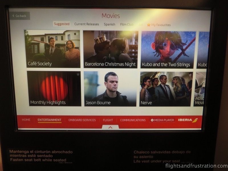 Some of the entertainment options with Iberia in December 2016