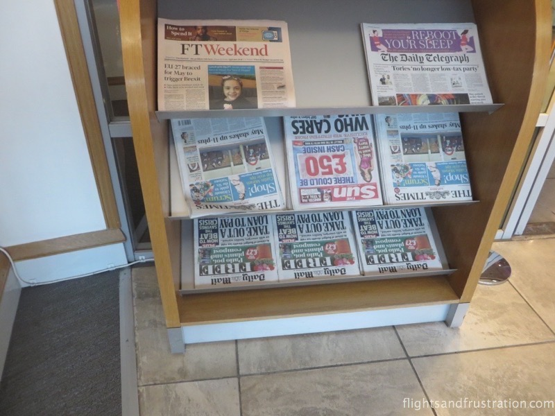 Newspaper selection at Manchester's British Airways lounge