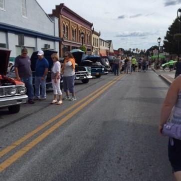 Main street row of cars