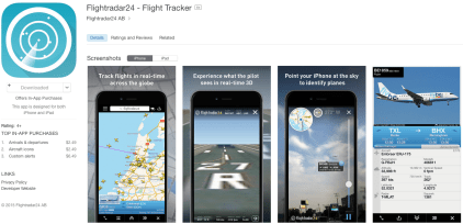 Flightradar24 is an app for iOS and Android devices for live tracking of aircraft movement