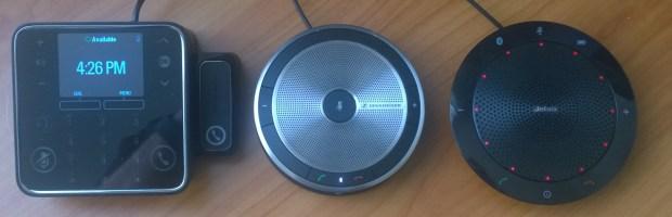 Three speakerphones