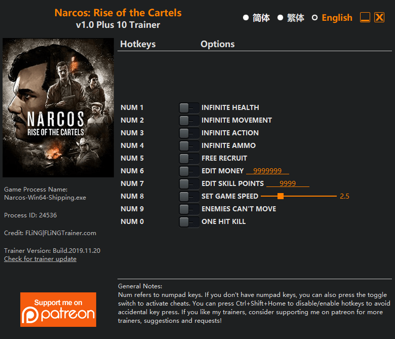 Narcos: Rise of the Cartels Trainer/Cheat