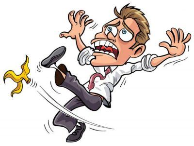 Cartoon-like manexperiencing a slip and fall accident from a banana peel.