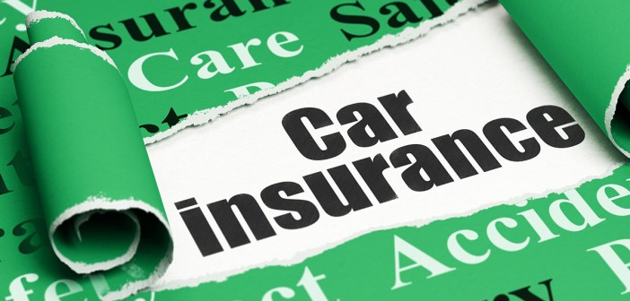Insurance concept: black text Car Insurance under the curled piece of Green torn paper with Tag Cloud